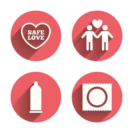 sexo: Condom iconos de sexo seguro. Amantes signos pareja gay. Macho amor. Símbolo del corazón. Círculos rosados ??botones planos con sombra. Vector
