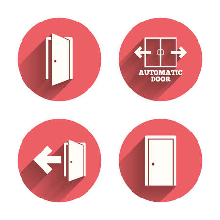 emergency exit label: Automatic door icon. Emergency exit with arrow symbols. Fire exit signs. Pink circles flat buttons with shadow. Vector Illustration