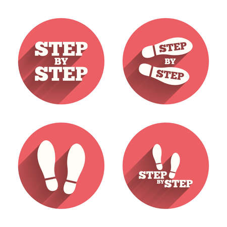 instru��o: Step by step icons. Footprint shoes symbols. Instruction guide concept. Pink circles flat buttons with shadow. Vector Ilustra��o