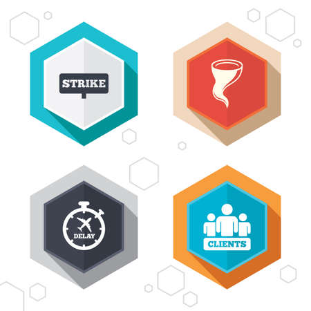 delayed: Hexagon buttons. Strike icon. Storm bad weather and group of people signs. Delayed flight symbol. Labels with shadow. Vector