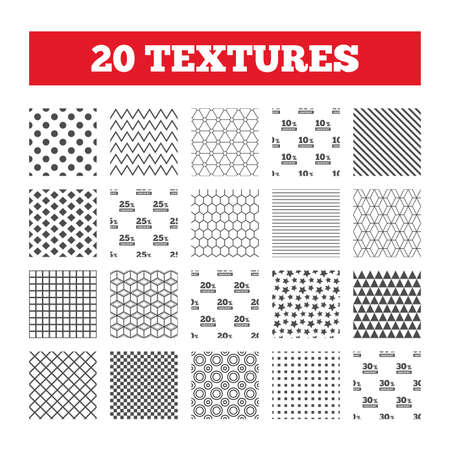 20 to 25: Seamless patterns. Endless textures. Sale discount icons. Special offer price signs. 10, 20, 25 and 30 percent off reduction symbols. Geometric tiles, rhombus. Vector Illustration