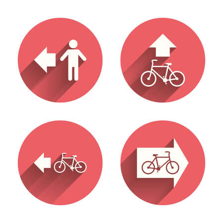 trail sign: Pedestrian road icon. Bicycle path trail sign. Cycle path. Arrow symbol. Pink circles flat buttons with shadow. Vector