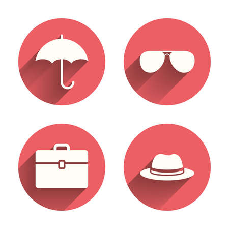business case: Clothing accessories icons. Umbrella and sunglasses signs. Headdress hat with business case symbols. Pink circles flat buttons with shadow. Vector