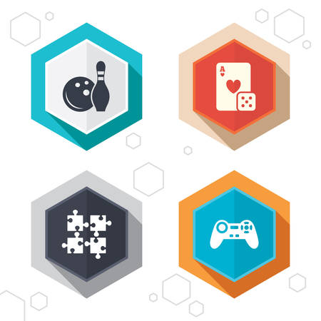 playing video game: Hexagon buttons. Bowling and Casino icons. Video game joystick and playing card with puzzles pieces symbols. Entertainment signs. Labels with shadow. Vector