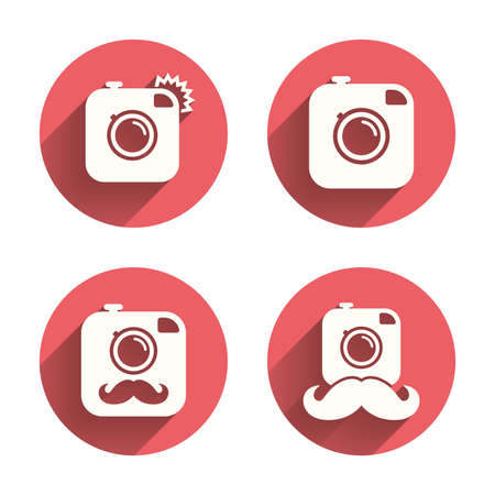 hair pins: Hipster photo camera with mustache icons. Retro camera symbols. Pink circles flat buttons with shadow. Vector