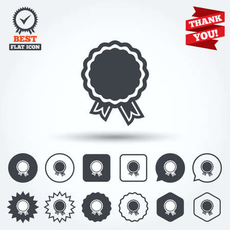 award: Award icon. Best guarantee symbol. Winner achievement sign. Circle, star, speech bubble and square buttons. Award medal with check mark. Thank you. Vector