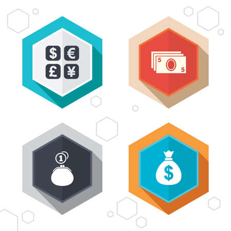 currency converter: Hexagon buttons. Currency exchange icon. Cash money bag and wallet with coins signs. Dollar, euro, pound, yen symbols. Labels with shadow. Vector