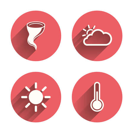 gale: Weather icons. Cloud and sun signs. Storm symbol. Thermometer temperature sign. Pink circles flat buttons with shadow. Vector