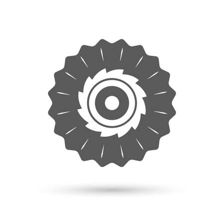 cutting blade: Vintage emblem medal. Saw circular wheel sign icon. Cutting blade symbol. Classic flat icon. Vector Illustration