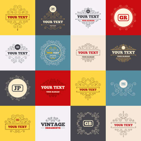 tr: Vintage frames, labels. Language icons. JP, TR, GR and GB translation symbols. Japan, Turkey, Greece and England languages. Scroll elements. Vector