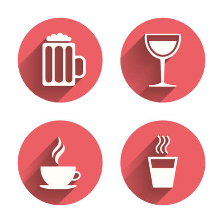 long drink: Drinks icons. Coffee cup and glass of beer symbols. Wine glass sign. Pink circles flat buttons with shadow. Vector Illustration
