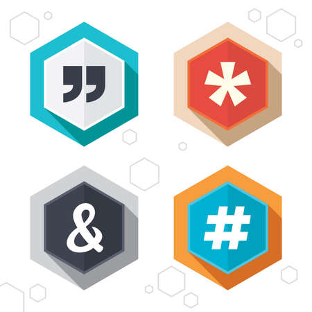 logical: Hexagon buttons. Quote, asterisk footnote icons. Hashtag social media and ampersand symbols. Programming logical operator AND sign. Labels with shadow. Vector