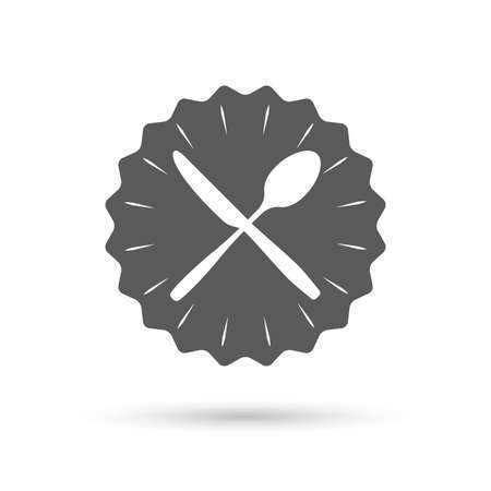crosswise: Vintage emblem medal. Eat sign icon. Cutlery symbol. Knife and spoon crosswise. Classic flat icon. Vector Illustration