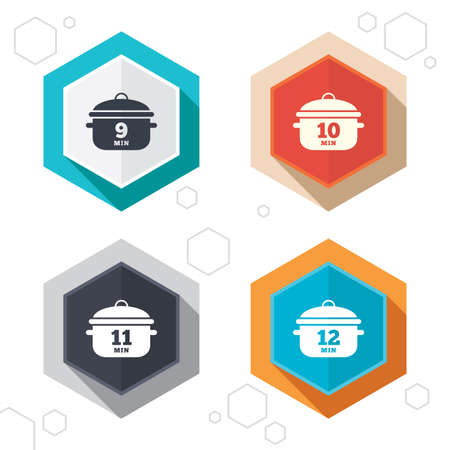 10 12: Hexagon buttons. Cooking pan icons. Boil 9, 10, 11 and 12 minutes signs. Stew food symbol. Labels with shadow. Vector