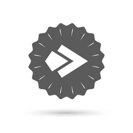 next button: Vintage emblem medal. Arrow sign icon. Next button. Navigation symbol. Classic flat icon. Vector