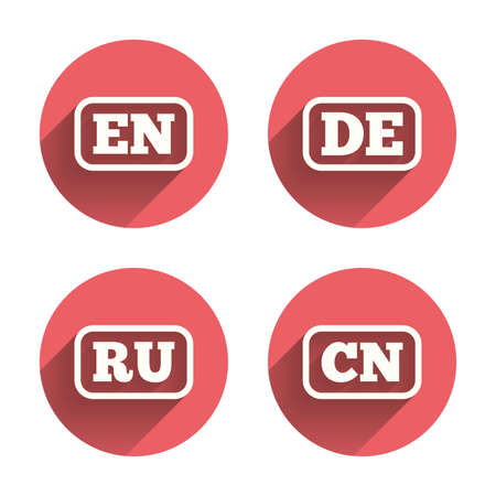 en: Language icons. EN, DE, RU and CN translation symbols. English, German, Russian and Chinese languages. Pink circles flat buttons with shadow. Vector
