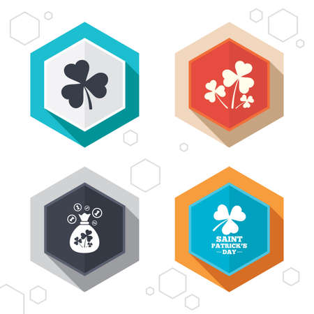 shamrock clover: Hexagon buttons. Saint Patrick day icons. Money bag with clover and coins sign. Trefoil shamrock clover. Symbol of good luck. Labels with shadow. Vector