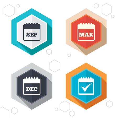 sep: Hexagon buttons. Calendar icons. September, March and December month symbols. Check or Tick sign. Date or event reminder. Labels with shadow. Vector Illustration