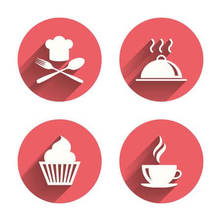 cocinero: Comida y bebida iconos. Símbolo de la magdalena del mollete. Tenedor y cuchara con el Chef signo sombrero. Taza de café caliente. Porción plato de comida. Círculos rosados ??botones planos con sombra. Vector Vectores