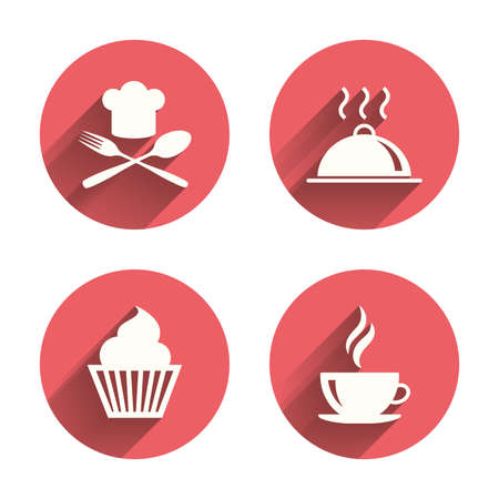 Food and drink icons. Muffin cupcake symbol. Fork and spoon with Chef hat sign. Hot coffee cup. Food platter serving. Pink circles flat buttons with shadow. Vector