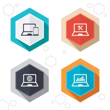 laptop repair: Hexagon botones. Cuaderno iconos pc port�til. Internet globo signo. Reparaci�n s�mbolo servicio soluci�n. Monitoreo gr�fico de la carta. Etiquetas con sombra. Vector Vectores