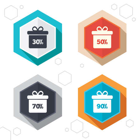 discount buttons: Hexagon buttons. Sale gift box tag icons. Discount special offer symbols. 30%, 50%, 70% and 90% percent discount signs. Labels with shadow. Vector Illustration