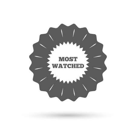 viewed: Vintage emblem medal. Most watched sign icon. Most viewed symbol. Classic flat icon. Vector