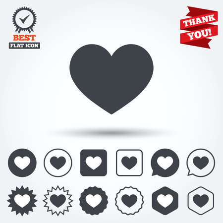 heart attack: Love icon. Heart sign symbol. Circle, star, speech bubble and square buttons. Award medal with check mark. Thank you. Vector