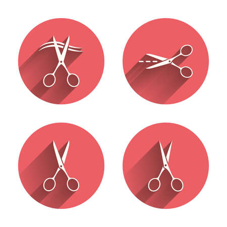 hair cut: Scissors icons. Hairdresser or barbershop symbol. Scissors cut hair. Cut dash dotted line. Tailor symbol. Pink circles flat buttons with shadow. Vector Illustration