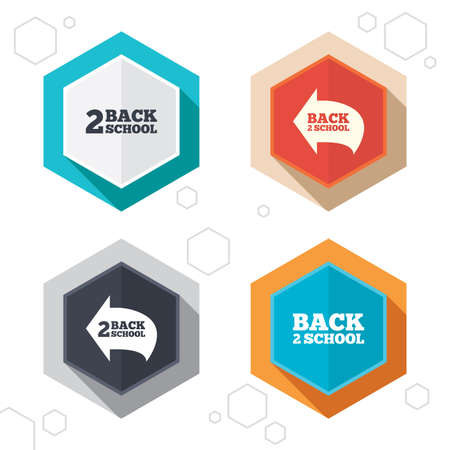 vector studies: Hexagon buttons. Back to school icons. Studies after the holidays signs symbols. Labels with shadow. Vector