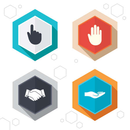 no edges: Hexagon buttons. Hand icons. Handshake successful business symbol. Click here press sign. Human helping donation hand. Labels with shadow. Vector