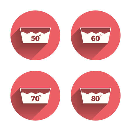 washhouse: Wash icons. Machine washable at 50, 60, 70 and 80 degrees symbols. Laundry washhouse signs. Pink circles flat buttons with shadow. Vector