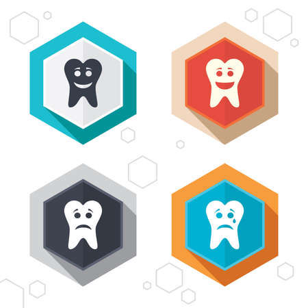 unhealthy: Hexagon buttons. Tooth happy, sad and crying faces icons. Dental care signs. Healthy or unhealthy teeth symbols. Labels with shadow. Vector Illustration