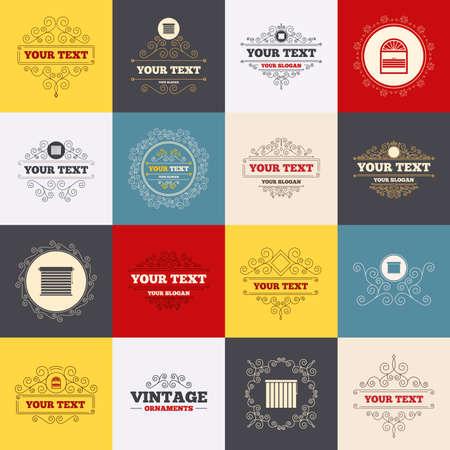 Vintage frames, labels. Louvers icons. Plisse, rolls, vertical and horizontal. Window blinds or jalousie symbols. Scroll elements. Vector Illustration