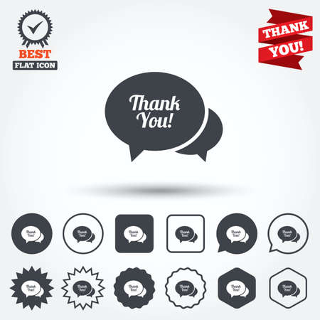 thanks a lot: Speech bubble thank you sign icon. Customer service symbol. Circle, star, speech bubble and square buttons. Award medal with check mark. Thank you. Vector Illustration
