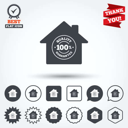 quality guarantee: Construction works. 100% quality guarantee sign icon. Premium quality symbol. Circle, star, speech bubble and square buttons. Award medal with check mark. Thank you. Vector