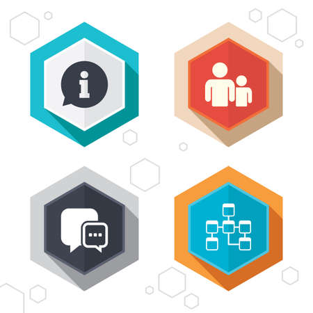 relational: Hexagon buttons. Information sign. Group of people and database symbols. Chat speech bubbles sign. Communication icons. Labels with shadow. Vector