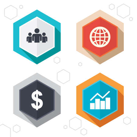 shadow people: Hexagon buttons. Business icons. Graph chart and globe signs. Dollar currency and group of people symbols. Labels with shadow. Vector Illustration