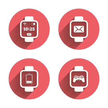 www arm: Smart watch icons. Wrist digital time watch symbols. Mail, Game joystick and wi-fi signs. Pink circles flat buttons with shadow. Vector