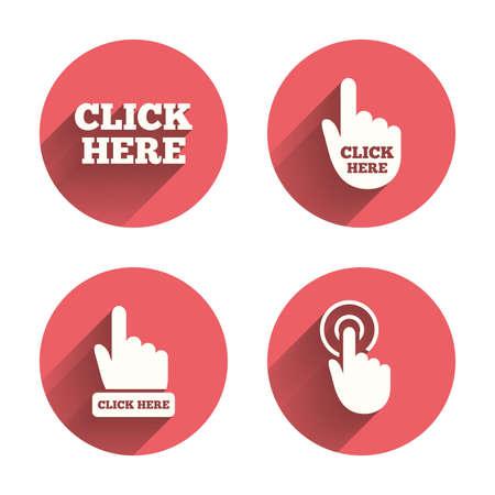 Haga clic aquí iconos. Signos de cursor de la mano. Presione aquí símbolos. Círculos rosados ??botones planos con sombra. Vector