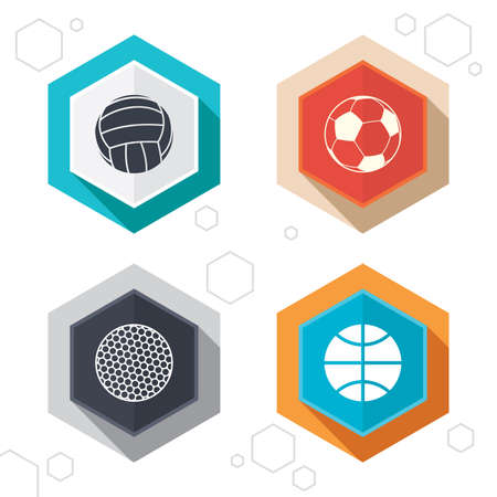 pelota de voley: Hexagon buttons. Sport balls icons. Volleyball, Basketball, Soccer and Golf signs. Team sport games. Labels with shadow. Vector