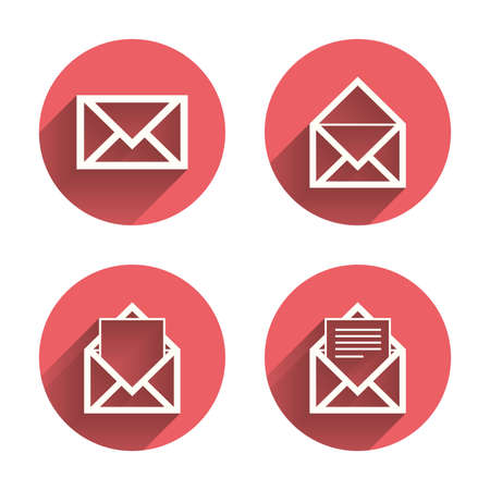 webmail: Mail envelope icons. Message document symbols. Post office letter signs. Pink circles flat buttons with shadow. Vector