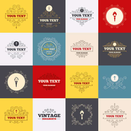 hand tool: Vintage frames, labels. Torch flame icons. Fire flaming symbols. Hand tool which provides light or heat. Scroll elements. Vector