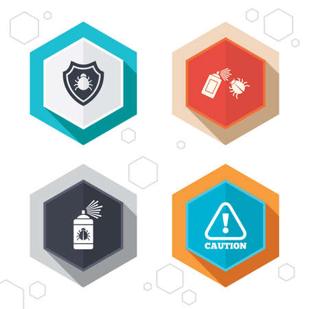 Hexagon buttons. Bug disinfection icons. Caution attention and shield symbols. Insect fumigation spray sign. Labels with shadow. Vector