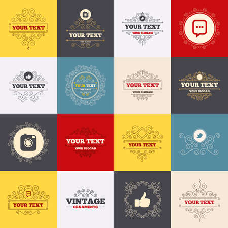 chat up: Vintage frames, labels. Hipster photo camera icon. Like and Chat speech bubble sign. Hand thumb up. Bird symbol. Scroll elements. Vector Illustration