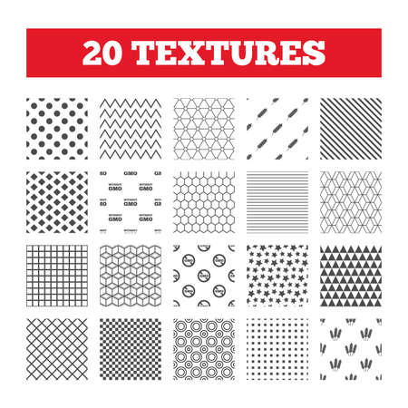 Seamless patterns. Endless textures. Agricultural icons. Gluten free or No gluten signs. Without Genetically modified food symbols. Geometric tiles, rhombus. Vector