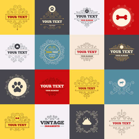 feces: Vintage frames, labels. Pets icons. Dog paw and feces signs. Clean up after pets. Pets food. Scroll elements. Vector Illustration