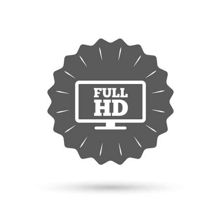 full hd: Vintage emblem medal. Full hd widescreen tv sign icon. High-definition symbol. Classic flat icon. Vector