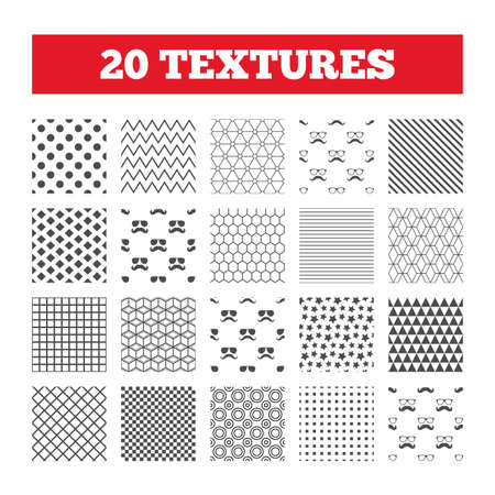 facial hair: Seamless patterns. Endless textures. Mustache and Glasses icons. Hipster symbols. Facial hair signs. Geometric tiles, rhombus. Vector