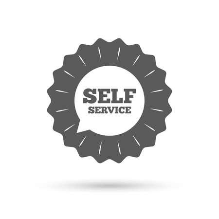 maintenance symbol: Vintage emblem medal. Self service sign icon. Maintenance symbol in speech bubble. Classic flat icon. Vector